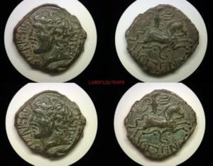 ofildutemps.com:restauration de monnaies:bronze epenos meldes au cheval et à l'oiseau