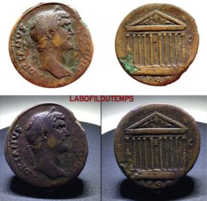 ofildutemps.com:restauration de monnaies:SPQR decastyle temple of Roma SCjpg