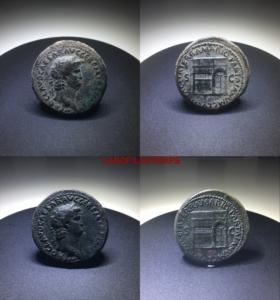 ofildutemps.com:restauration de monnaies:dupondius nero PACE P R TERRA MARIO PARTA IANVUM CLVSIT S C