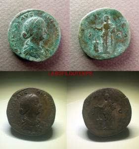ofildutemps.com:restauration de monnaies:sestertius Lucilla pietas sc