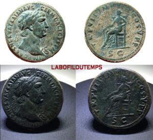 ofildutemps.com:restauration de monnaies:sestertius trajanus TRPVIIIMPIIICOSVPPS-C pax